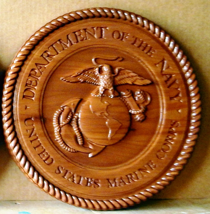 V31407 - Carved 3-D Cedar Wood Plaque of the Seal of the US Marine Corps