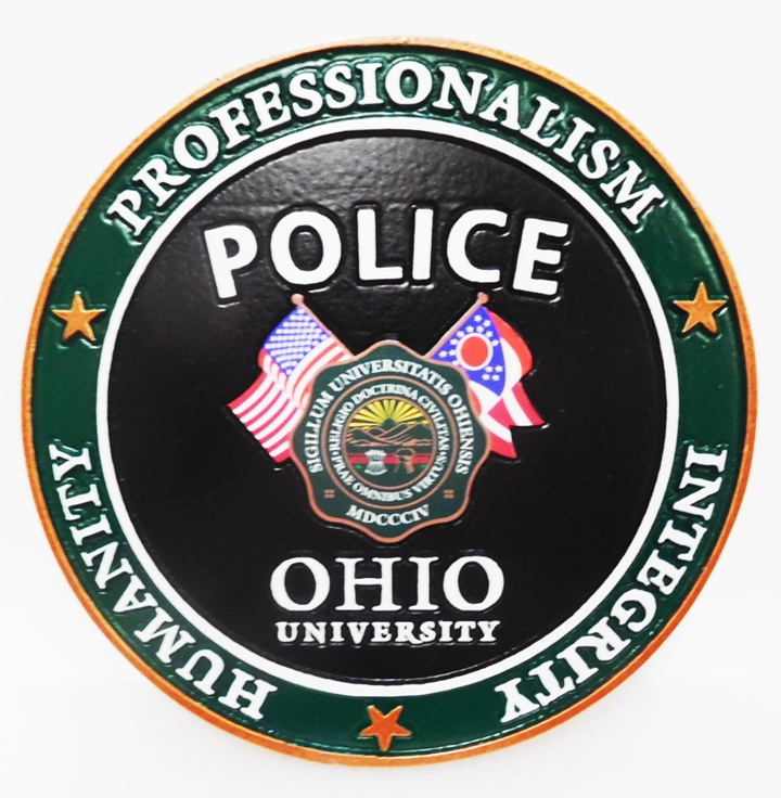 PP-3109- Carved Plaque of the Seal of the Police Department of Ohio University,  2.5-D Artist-Painted