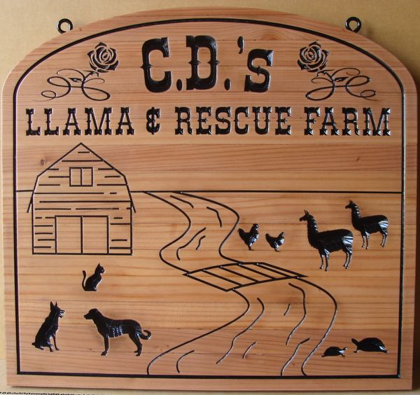 M3942 - Craved Cedar Wood Sign for Llama and Rescue Farm with Carved Figures of Dogs, Chickens,Turtles,Cat and Llamas (Gallery 23)