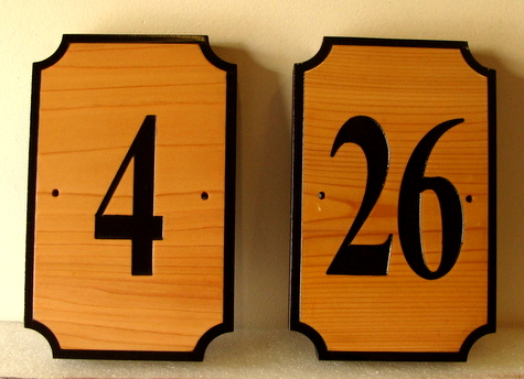 T29182 - Two Engraved Cedar Wood Room Number Signs for an Inn