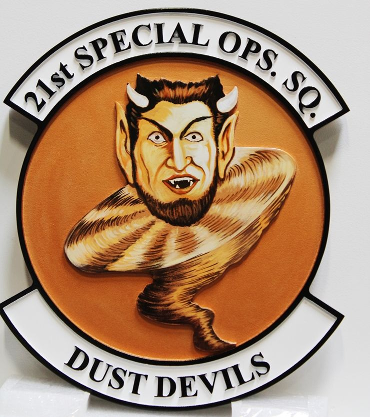 """LP-3954 - Carved Plaque of the Crest of the 21st SpecialOperations Squadron """"Dust Devils"""", 2.5-D Artist-Painted"""