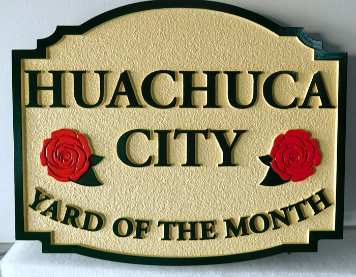 "KA20929 - ""Huachuca City"" HOA Yard-of-the-Month Sign, with Two Rose Blossom Flowers"