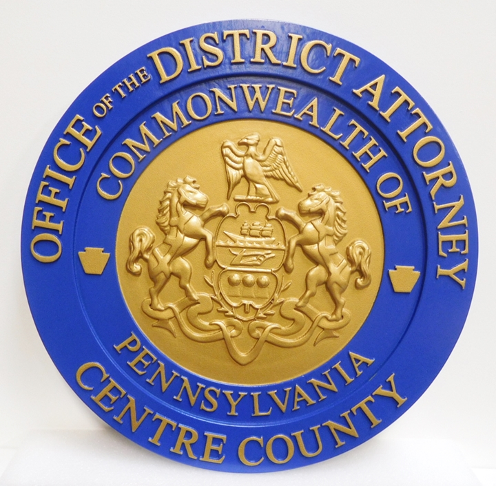 CP-1085 - Carved Plaque of the Seal of the District Attorney, Centre County, Pennsylvania 3-D Relief,  Painted