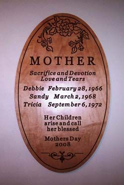 JG908 - Carved Mahogany Wall Plaque, for Mother from her Children on Mother's Day, with Flowers