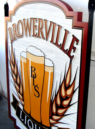 Y27559 - Side View of Beer Sign for a Pub