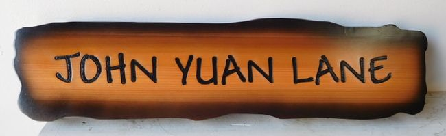 H17067 - Engraved Rustic Western Red Cedar Road Name Sign, John Yuan Lane, with Scorched Irregular Edges