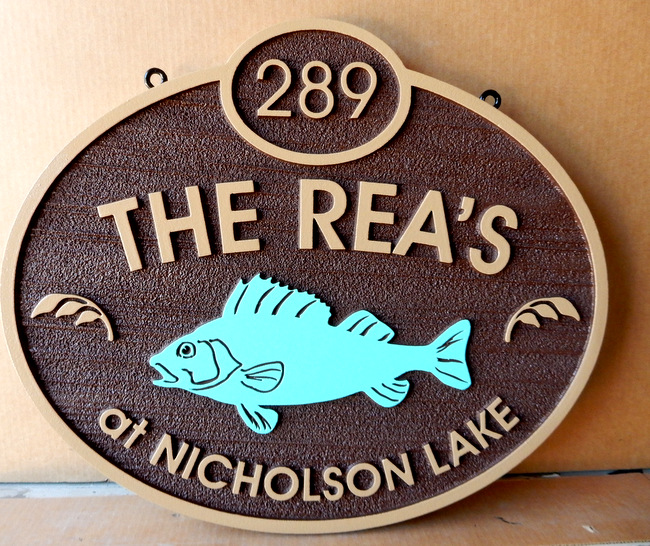 M22594 - Sandblasted HDU Address Sign for Waterfront Property with Carved Painted Trout