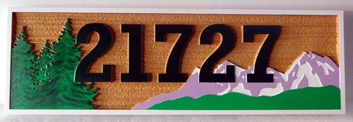 M22207-  Mountain Cabin Address  Sign  Featuring  Snow-capped Mountains as Artwork