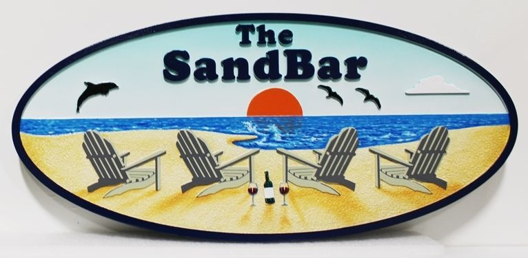 "L21035 - Carved and Sandblasted 2.5-D Multi-level  HDU Beach House Name Sign ""The Sandbar"".,, with  Four  Empty Beach Chairs, a Bottle of Wine , and a Setting Sun as Artwork"