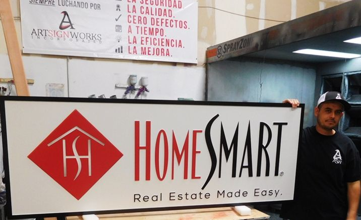 """S28095 - Large Carved  HDU Commercial Sign made for the """"Home Smart"""" Real Estate Company, 2.5-D Artist-Painted"""