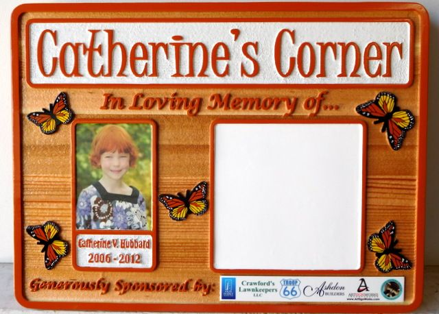 """GC16630 - Carved Cedar Wood Memorial Wall Plaque for """"Catherine's Corner"""""""
