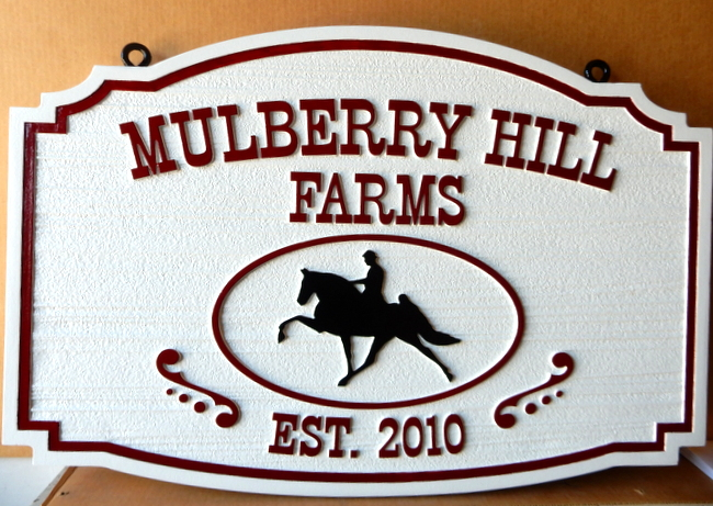 "P25134 - HDU Sign for ""Mulberry Hill Farms"" with Silhouette Profile of Horse and Rider"