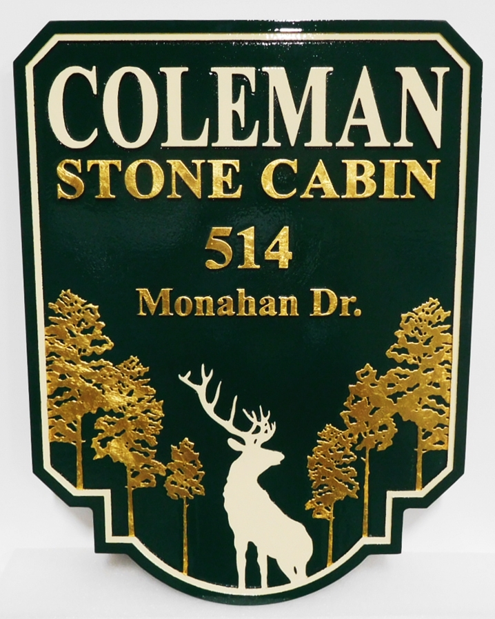 M22603 -  Stone Cabin Sign with Bull  Elk and Trees, 2.5D with 24K Gold Leaf Gilding