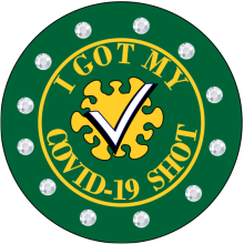 GREEN AND YELLOW BLING PIN WITH CLEAR RHINESTONES