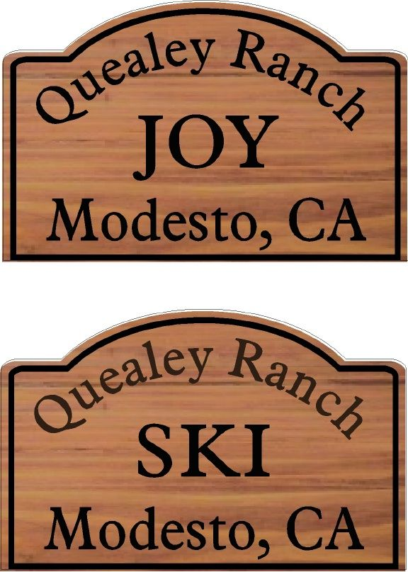 GG738 - Carved Cedar Horse Stall Plaques