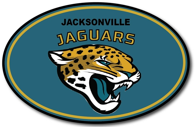 WP-1200 - Carved Wall Plaque of Logo for Jacksonville Jaguars, NFL,  Artist Painted