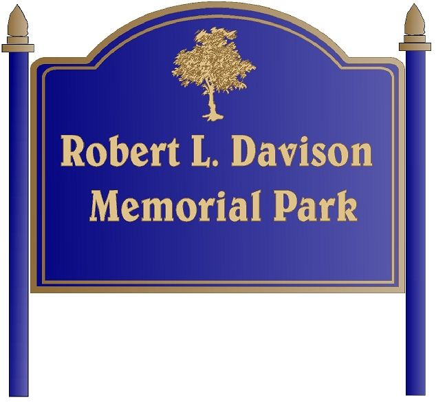 GA16472 - Design for Post-Mounted Wood or HDU Sign for Memorial Park with Carved Tree