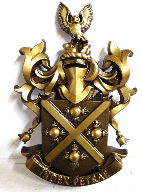 X34523 - Coat-of-Arms Wall Plaque Carved in 3-D Bas Relief, Polished Brass Metal