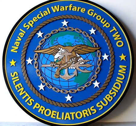 V31275 - Carved Wood Naval Special Warfare Group Wall Plaque