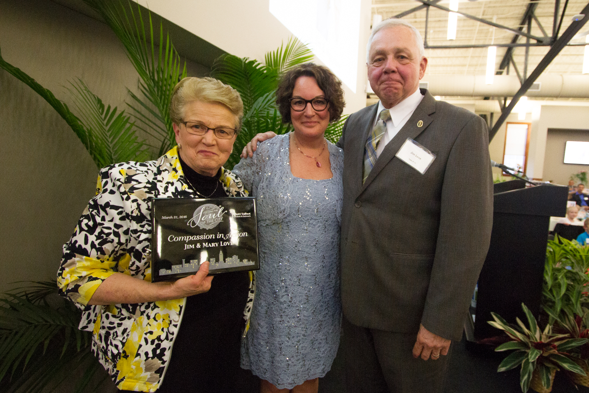 Mary Love, Susanne Blue, Jim Love after presentation of Compassion in Action Award.