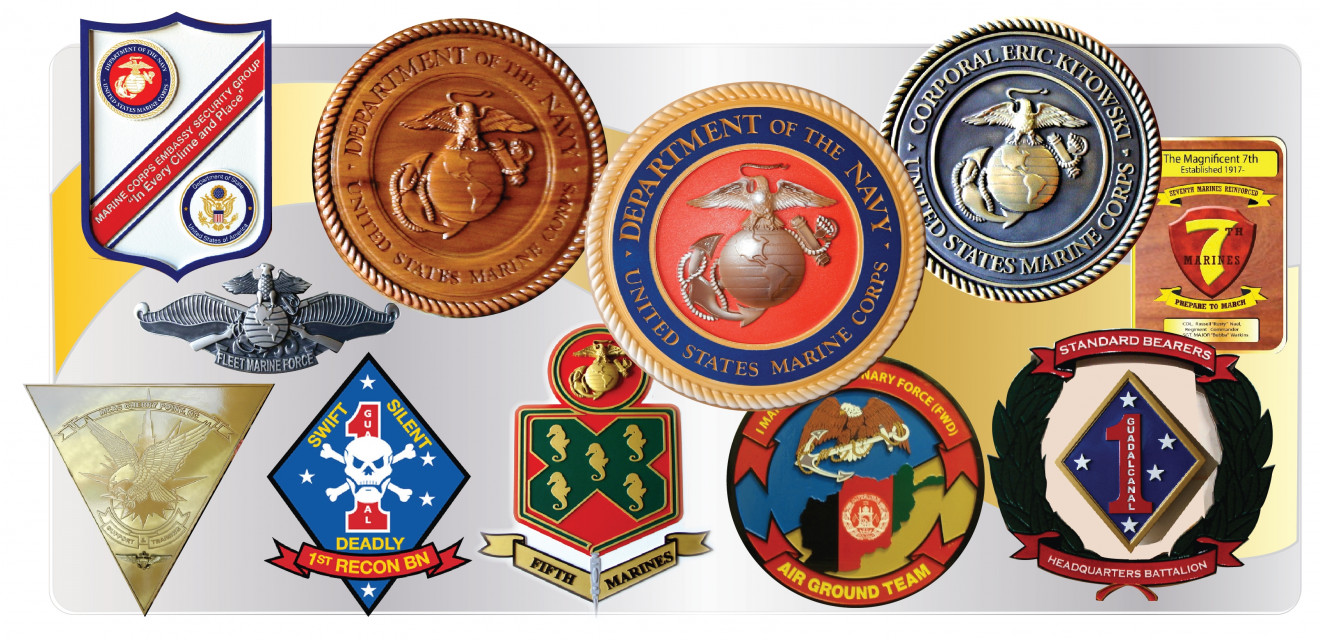 3D Painted, Wood, Bronze, Brass, Silver Marine Corps Plaques