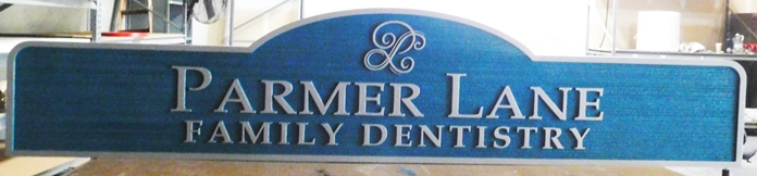 "BA11662 - Carved and Sandblasted  Sign for the Family Dentistry Office of ""Parmer Lane"""