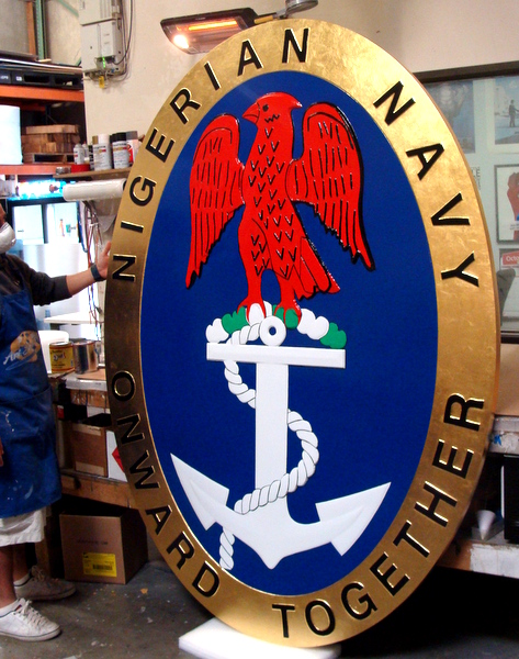EP-1010 - Carved Plaque of the Seal of the Nigerian Navy, Eagle & Anchor, Artist Painted