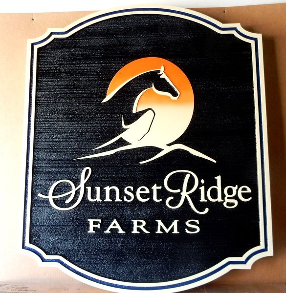 O24230 - Sunset Ridge Farm   Sign with Stylized  Horse Jumping, with a Sunset in the Background