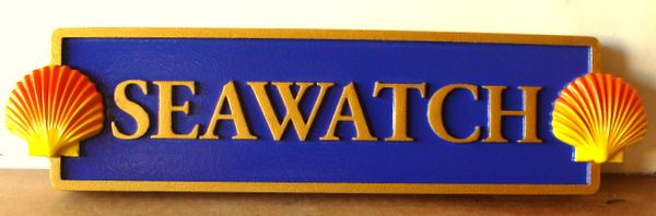 """L21882- Carved Quarterboard Sign """"Seawatch""""  for Seashore Home, """"Seawatch"""", with 3-D Carved Seashells"""