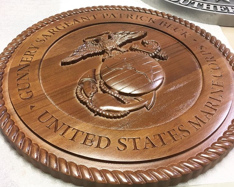V31407A- Carved 3-D Cedar Wood Plaque of the Seal of the US Marine Corps (Side View)