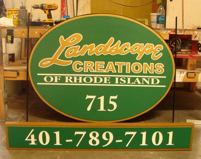 "SA28502 - Oval Sign for a Landscape Business- ""Landscape Creations""."