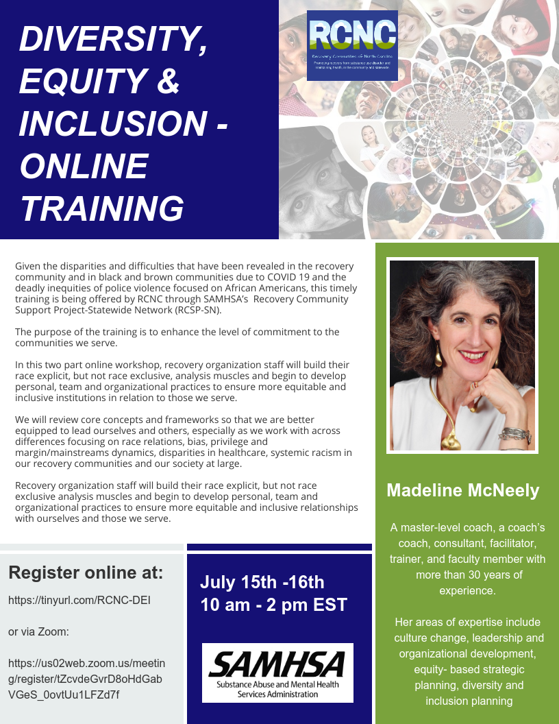 DIVERSITY, EQUITY & INCLUSION Online Training - July 15th and 16th