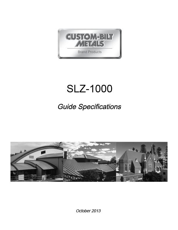 Guide Specs: SLZ-1000