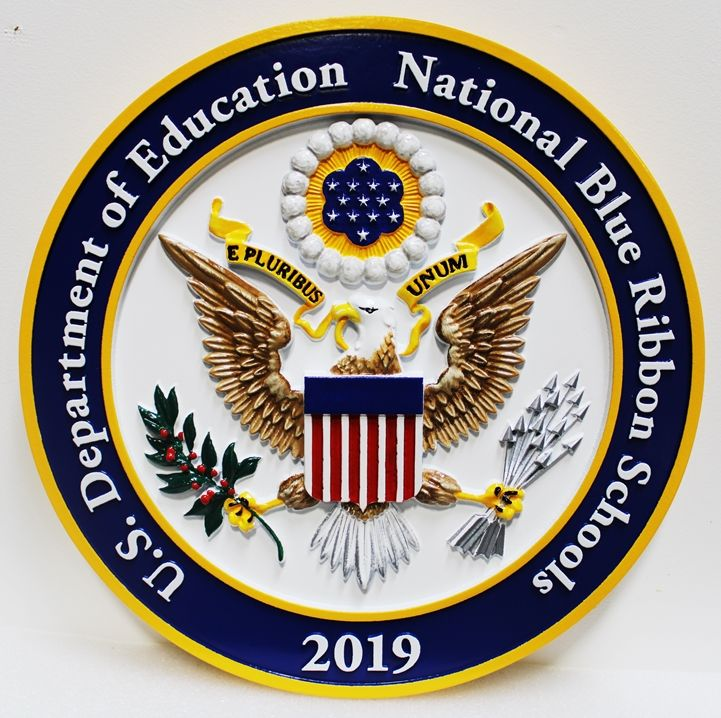 TP-1305- Carved Wall Plaque of the Seal  of a National Blue Ribbon  School,  3-D Artist Painted