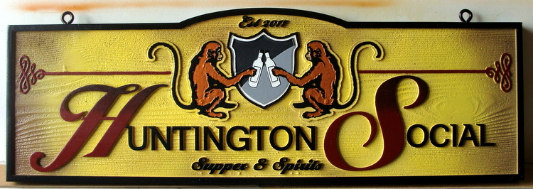 RB27114 - Carved and Sandblasted Cedar Social Club Sign, with Monkeys