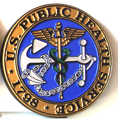 NP-2330 - Carved Plaque  of Seal of US Public Health Service,  Artist Painted