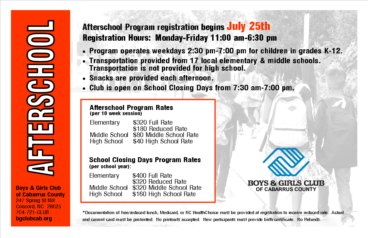 2019-20 School Closing Days Program - Elementary $400 full rate / $320 reduced rate* / Middle School $320 (per school year) / High School $160 (per school year)