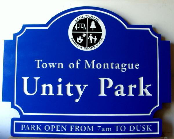 GA16436 - Carved Entrance  Sign for Town of Montague Park