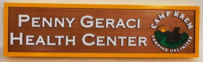 B11252 - Carved, Cedar Wood Sign for Health Center (Health Clinic) for Campers at a Campground.