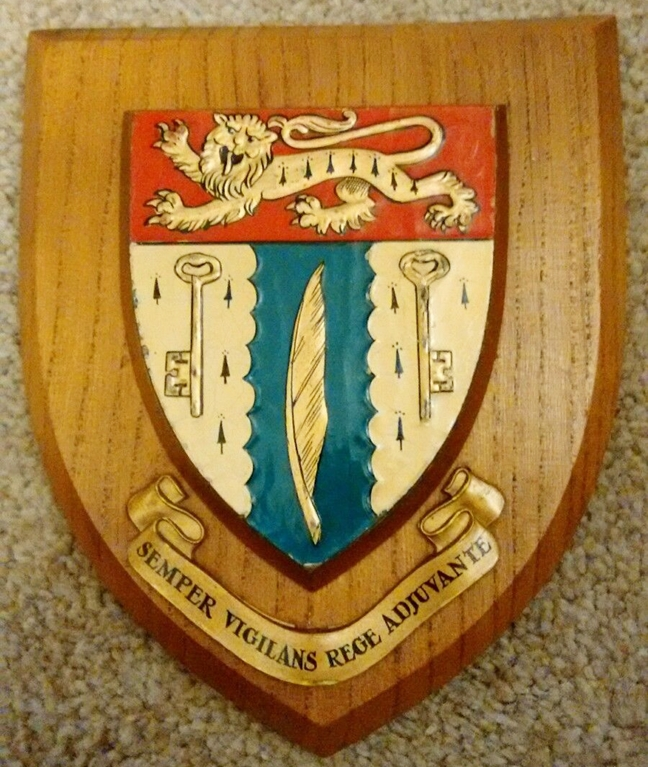 XP-2180 - Carved Shield Wall Plaque of Family Coat-of-Arms with  Lion, Keys and Feather, Artist Painted  with Oak Wood Shield