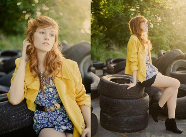 Woman in yellow summer jacket