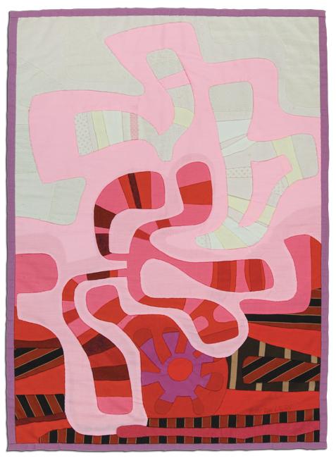 'Persephone's Spring,' 1980, appliqué, reverse appliqué, embroidery, 19.5 x 27 in, IQSCM 2010.014.0012
