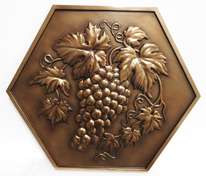 R27430 - Bronze-plated  Plaque with  a 3-D Cluster of Grapes Carved from  HDU