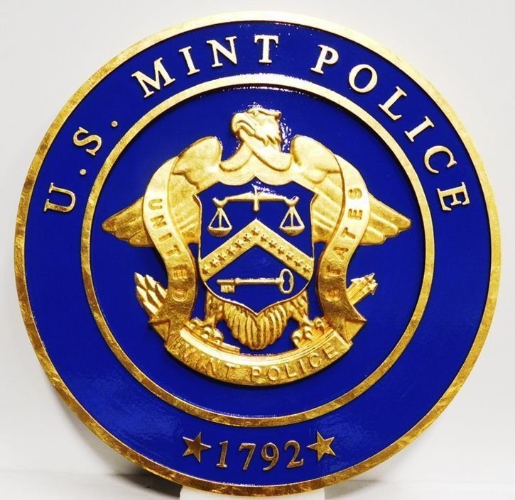 U30378A-  -  Carved 3-D  Wall Plaque with the Seal of  the US Mint Police, 24K Gold-Leaf Gilded.