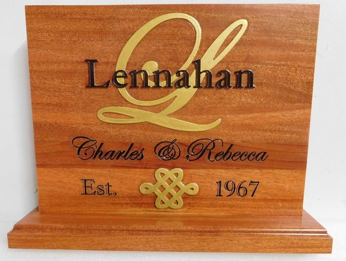 M3212 - Carved 2.5-D Cedar Anniversary Standing Plaque, with 24K Gold-Leaf Artwork (Gallery 22)