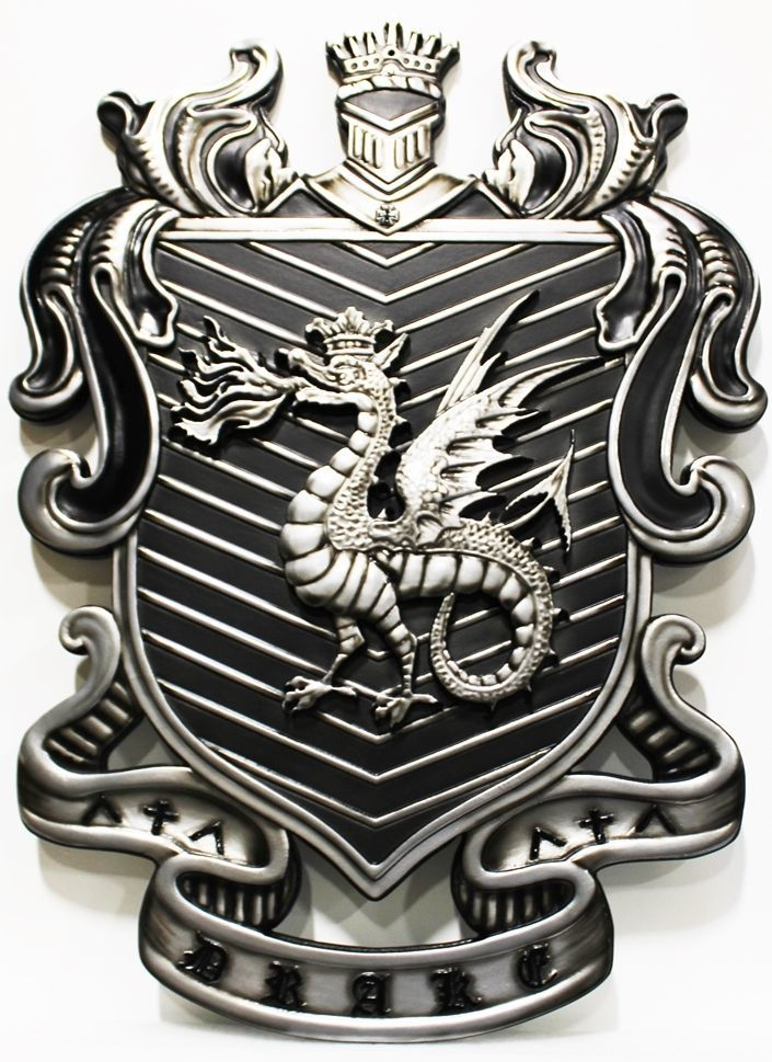 N23352- Carved 3-D Bas-Relief Aluminum-Plated Plaque of a Coat-of-Arms with  a Helmet,  a Shield and a Dragon