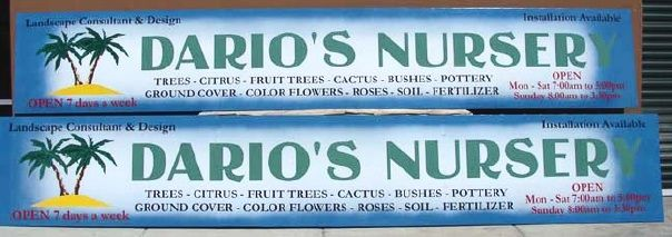 """SA28513 -  Two  Signs for the  """"Dario's Nursery"""", a Landscape  Design Business, with Palm Tree Logo"""