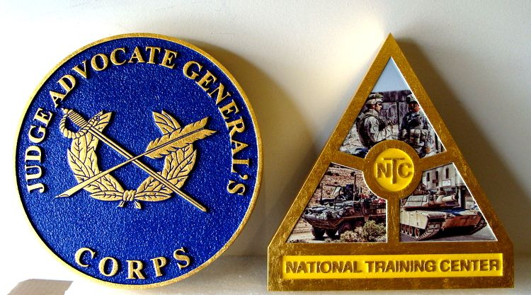 MP-2580 - Carved Plaques of the Insignia of  Units of the US Army,  Artist Painted