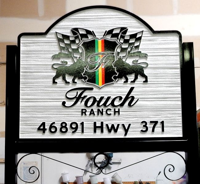 O24015 - Elegant Carved and Sandblasted Sign for Fouch Ranch, with Logo and Wrought Iron Frame