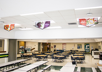 3 food banners hanging in school café, school banners, color splash style, food picture banners